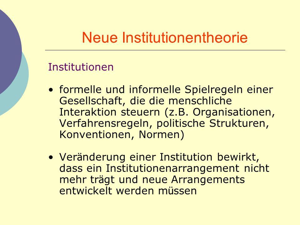 Neue Institutionentheorie Institutionen formelle und informelle Spielregeln einer Gesellschaft, die die menschliche Interaktion steuern (z.B. Organisa