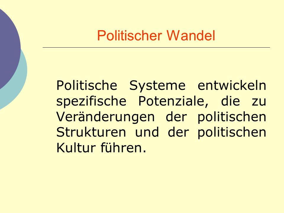 Politischer Wandel Politische Systeme entwickeln spezifische Potenziale, die zu Ver ä nderungen der politischen Strukturen und der politischen Kultur