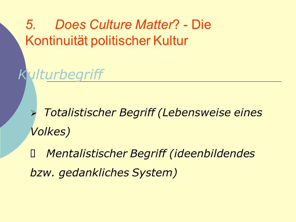 5. Does Culture Matter? - Die Kontinuit ä t politischer Kultur Kulturbegriff Totalistischer Begriff (Lebensweise eines Volkes) Mentalistischer Begriff