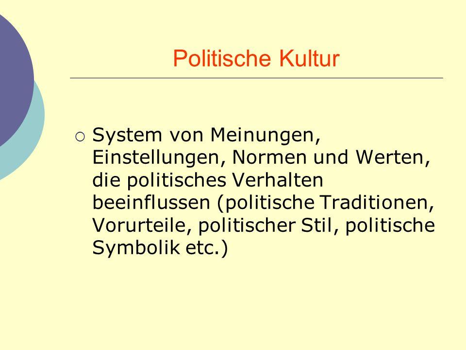 Politische Kultur System von Meinungen, Einstellungen, Normen und Werten, die politisches Verhalten beeinflussen (politische Traditionen, Vorurteile,