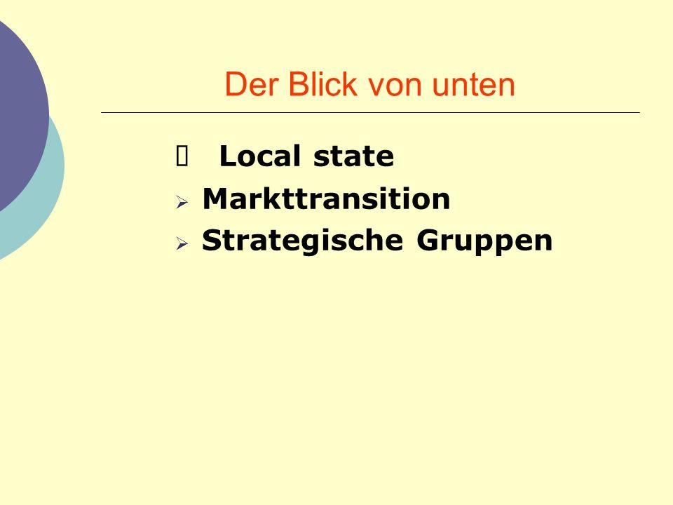 Der Blick von unten Local state Markttransition Strategische Gruppen