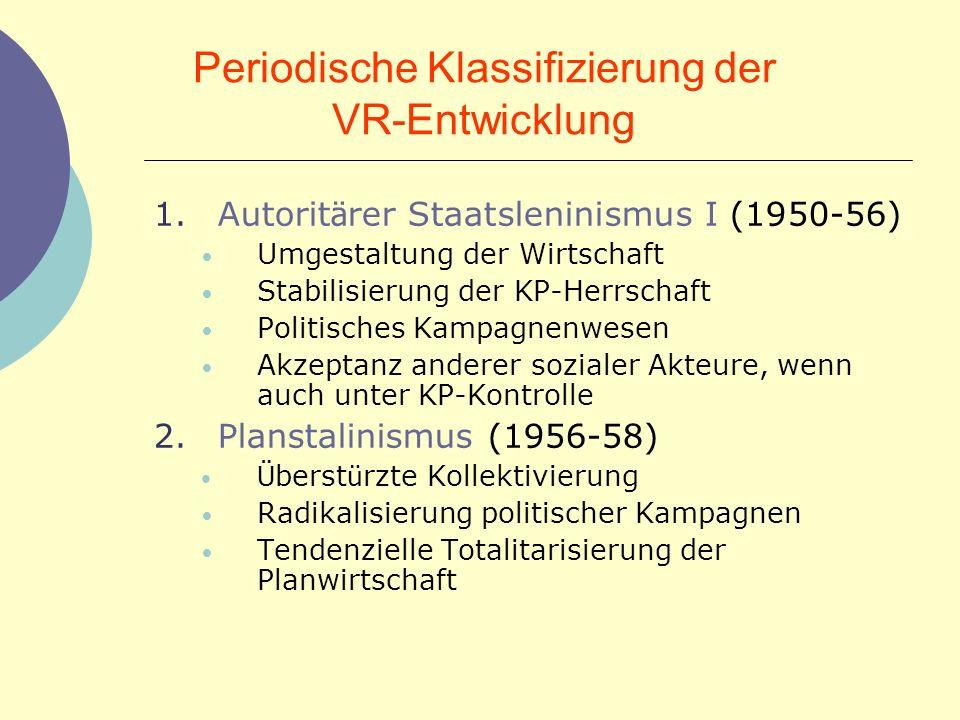Periodische Klassifizierung der VR-Entwicklung 1.Autorit ä rer Staatsleninismus I (1950-56) Umgestaltung der Wirtschaft Stabilisierung der KP-Herrscha