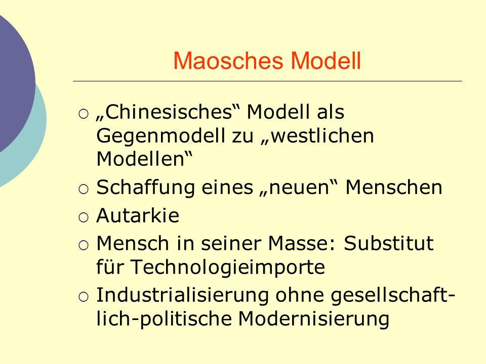 Maosches Modell Chinesisches Modell als Gegenmodell zu westlichen Modellen Schaffung eines neuen Menschen Autarkie Mensch in seiner Masse: Substitut f