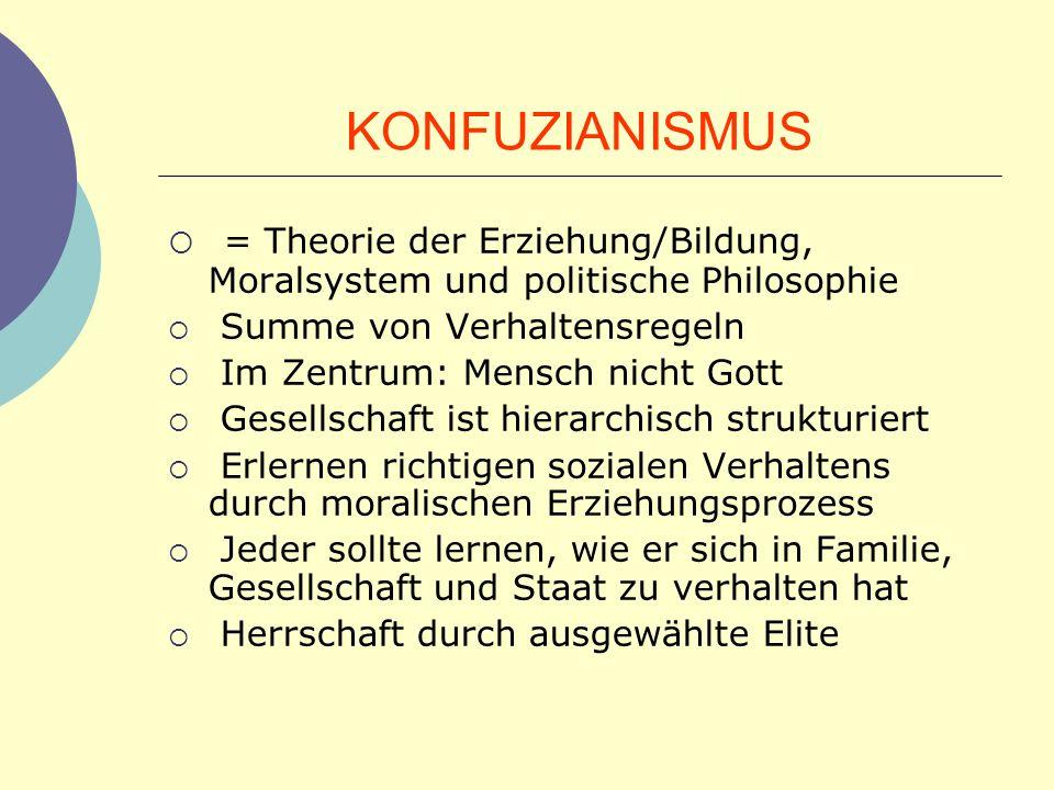 KONFUZIANISMUS = Theorie der Erziehung/Bildung, Moralsystem und politische Philosophie Summe von Verhaltensregeln Im Zentrum: Mensch nicht Gott Gesell