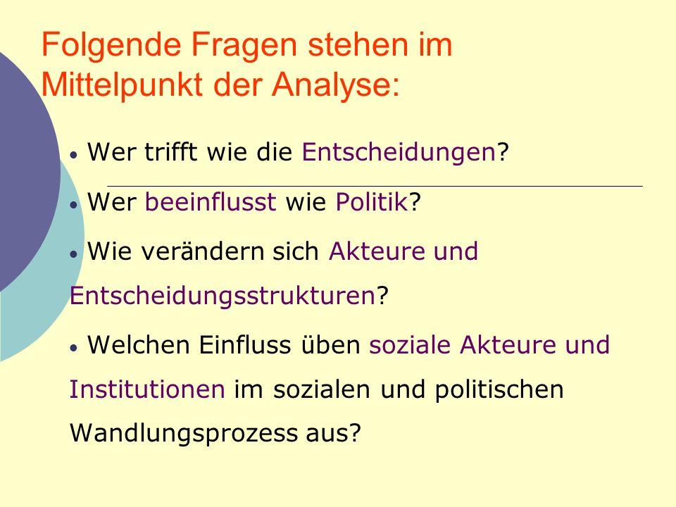 Folgende Fragen stehen im Mittelpunkt der Analyse: Wer trifft wie die Entscheidungen? Wer beeinflusst wie Politik? Wie ver ä ndern sich Akteure und En