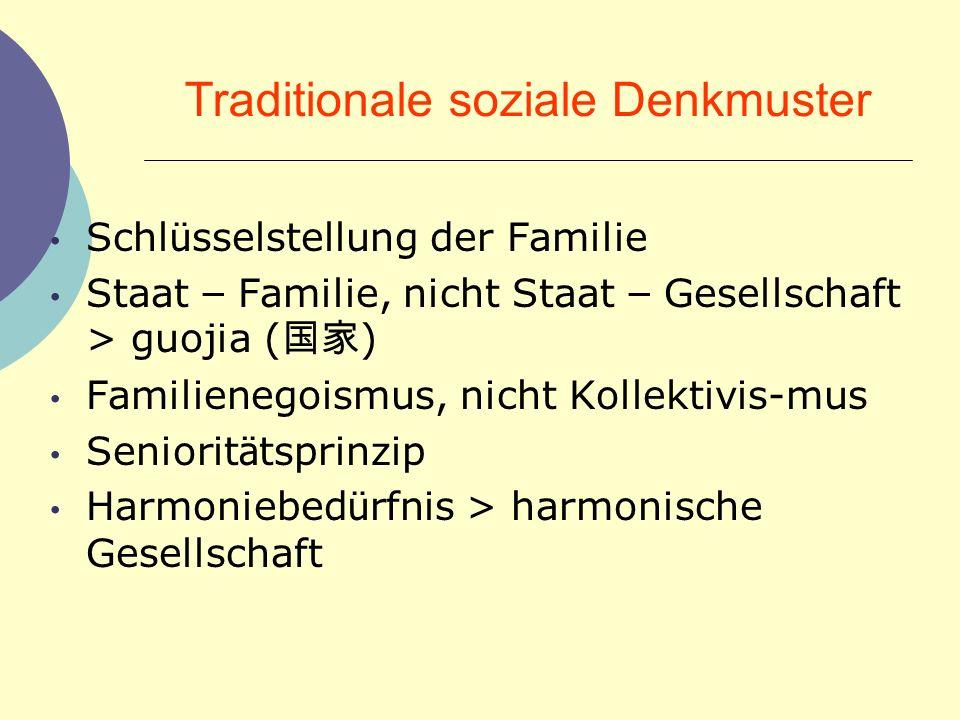 Traditionale soziale Denkmuster Schl ü sselstellung der Familie Staat – Familie, nicht Staat – Gesellschaft > guojia ( ) Familienegoismus, nicht Kolle