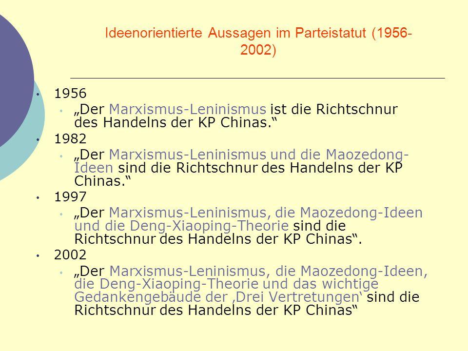 Ideenorientierte Aussagen im Parteistatut (1956- 2002) 1956 Der Marxismus-Leninismus ist die Richtschnur des Handelns der KP Chinas. 1982 Der Marxismu