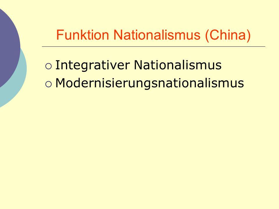 Funktion Nationalismus (China) Integrativer Nationalismus Modernisierungsnationalismus