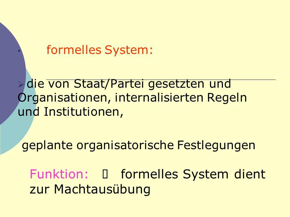 formelles System: die von Staat/Partei gesetzten und Organisationen, internalisierten Regeln und Institutionen, geplante organisatorische Festlegungen