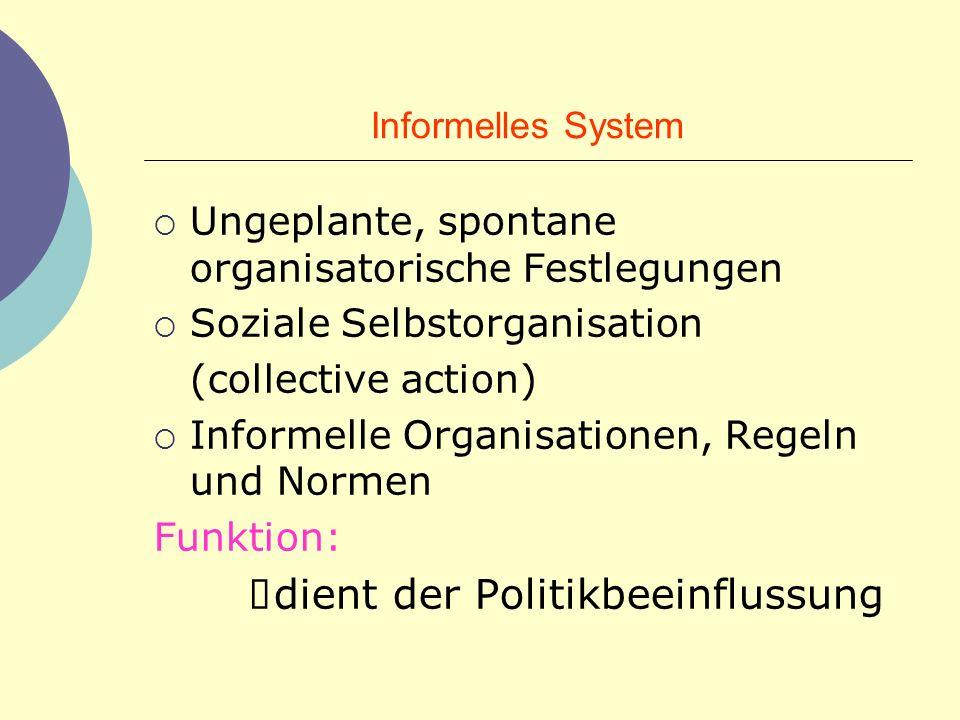 Informelles System Ungeplante, spontane organisatorische Festlegungen Soziale Selbstorganisation (collective action) Informelle Organisationen, Regeln