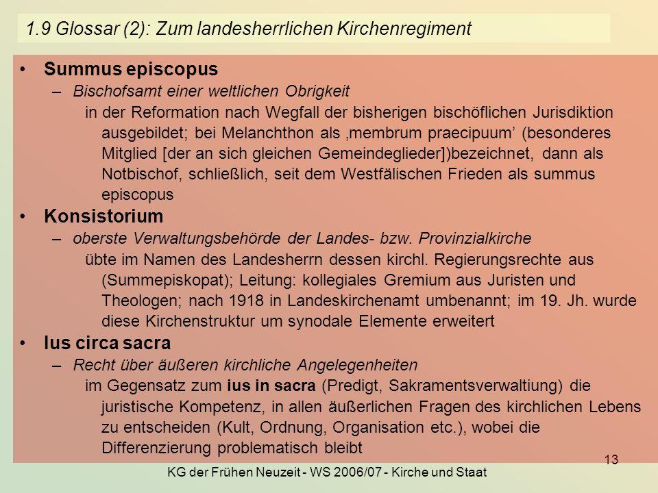 KG der Frühen Neuzeit - WS 2006/07 - Kirche und Staat 13 1.9 Glossar (2): Zum landesherrlichen Kirchenregiment Summus episcopus –Bischofsamt einer wel