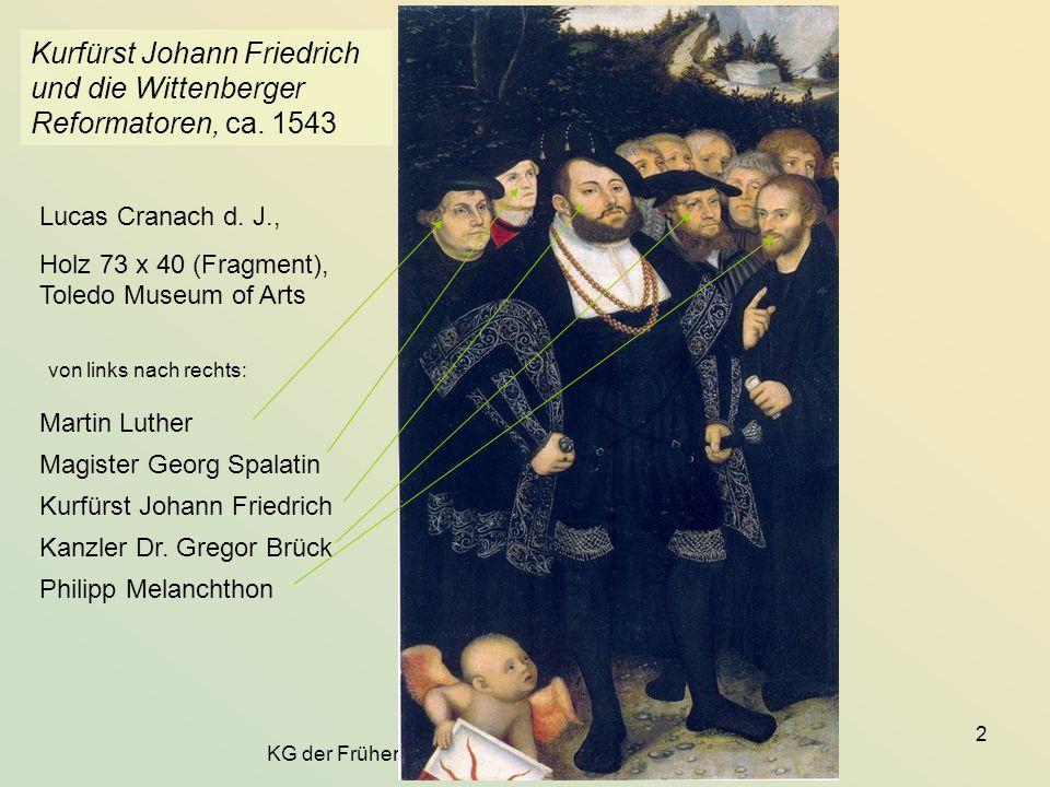 KG der Frühen Neuzeit - WS 2006/07 - Kirche und Staat 2 Kurfürst Johann Friedrich und die Wittenberger Reformatoren, ca. 1543 Lucas Cranach d. J., Hol