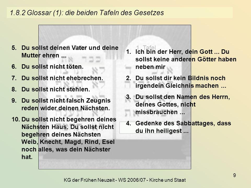 KG der Frühen Neuzeit - WS 2006/07 - Kirche und Staat 9 1.8.2 Glossar (1): die beiden Tafeln des Gesetzes 1. Tafel2. Tafel 1.Ich bin der Herr, dein Go