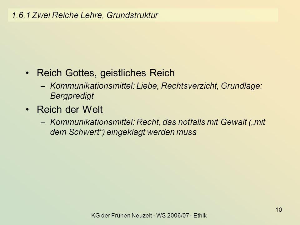 KG der Frühen Neuzeit - WS 2006/07 - Ethik 10 1.6.1 Zwei Reiche Lehre, Grundstruktur Reich Gottes, geistliches Reich –Kommunikationsmittel: Liebe, Rec
