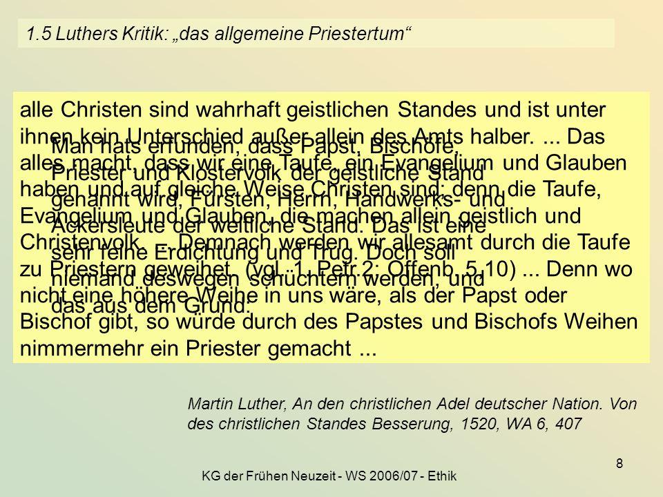KG der Frühen Neuzeit - WS 2006/07 - Ethik 8 1.5 Luthers Kritik: das allgemeine Priestertum Martin Luther, An den christlichen Adel deutscher Nation.
