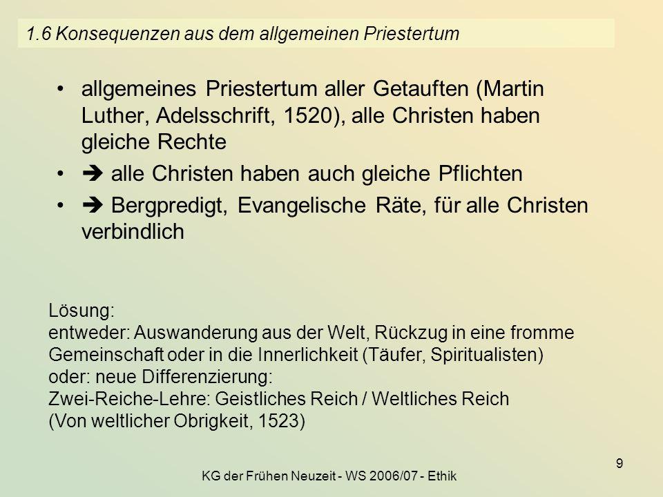 KG der Frühen Neuzeit - WS 2006/07 - Ethik 9 1.6 Konsequenzen aus dem allgemeinen Priestertum allgemeines Priestertum aller Getauften (Martin Luther,