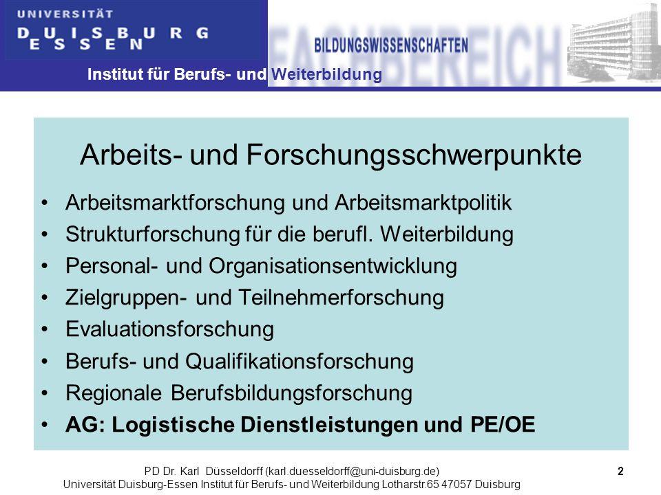 Institut für Berufs- und Weiterbildung 2PD Dr. Karl Düsseldorff (karl.duesseldorff@uni-duisburg.de) Universität Duisburg-Essen Institut für Berufs- un