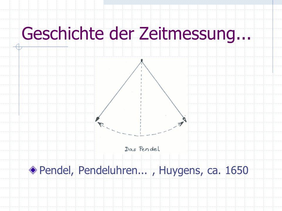 Geschichte der Zeitmessung... Pendel, Pendeluhren..., Huygens, ca. 1650