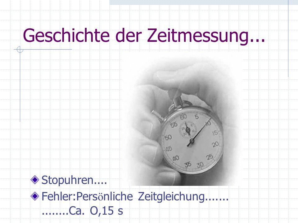 Geschichte der Zeitmessung... Stopuhren.... Fehler:Pers ö nliche Zeitgleichung...............Ca. O,15 s