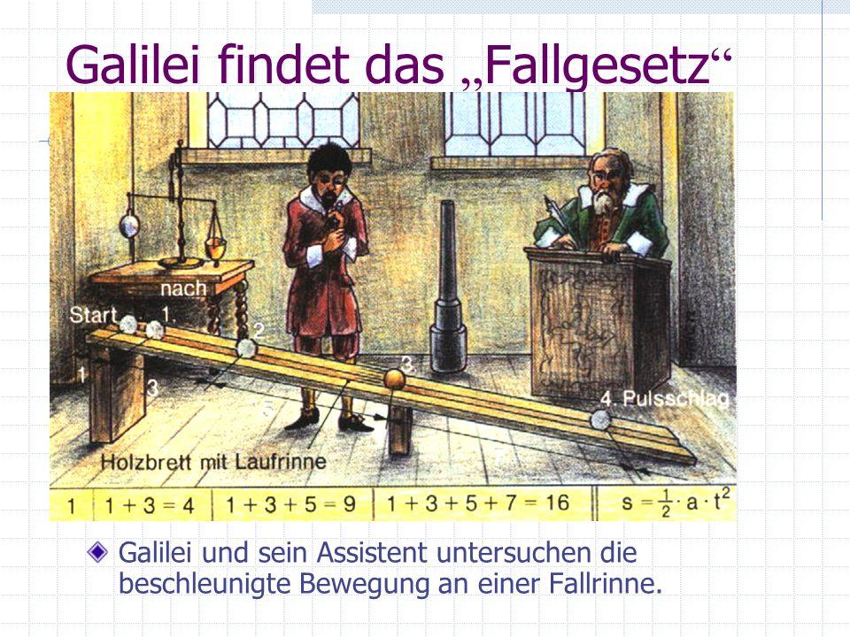 Galilei findet das Fallgesetz Galilei und sein Assistent untersuchen die beschleunigte Bewegung an einer Fallrinne.