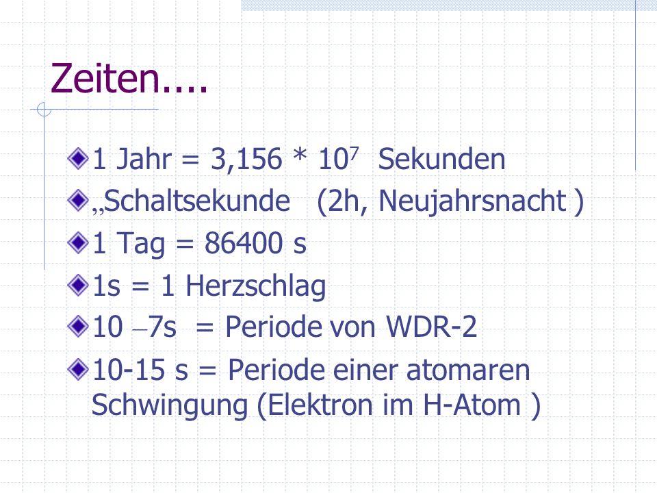 Zeiten.... 1 Jahr = 3,156 * 10 7 Sekunden Schaltsekunde (2h, Neujahrsnacht ) 1 Tag = 86400 s 1s = 1 Herzschlag 10 – 7s = Periode von WDR-2 10-15 s = P