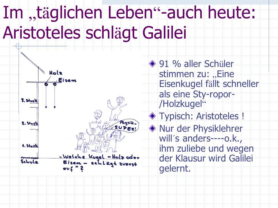 Im t ä glichen Leben -auch heute: Aristoteles schl ä gt Galilei 91 % aller Sch ü ler stimmen zu: Eine Eisenkugel f ä llt schneller als eine Sty-ropor-