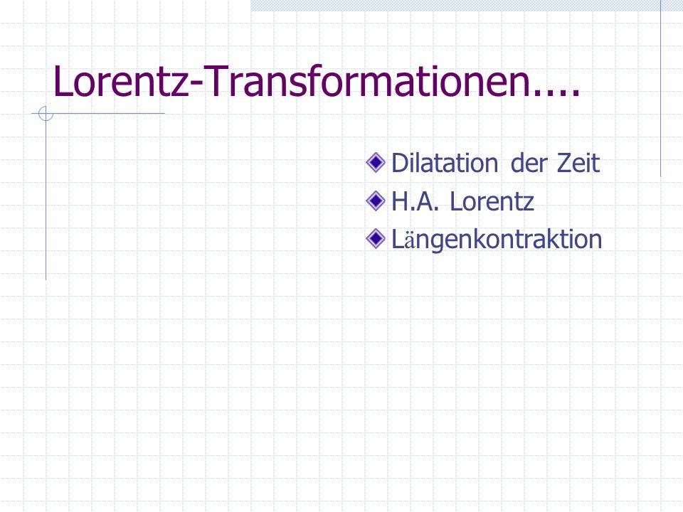 Lorentz-Transformationen.... Dilatation der Zeit H.A. Lorentz L ä ngenkontraktion