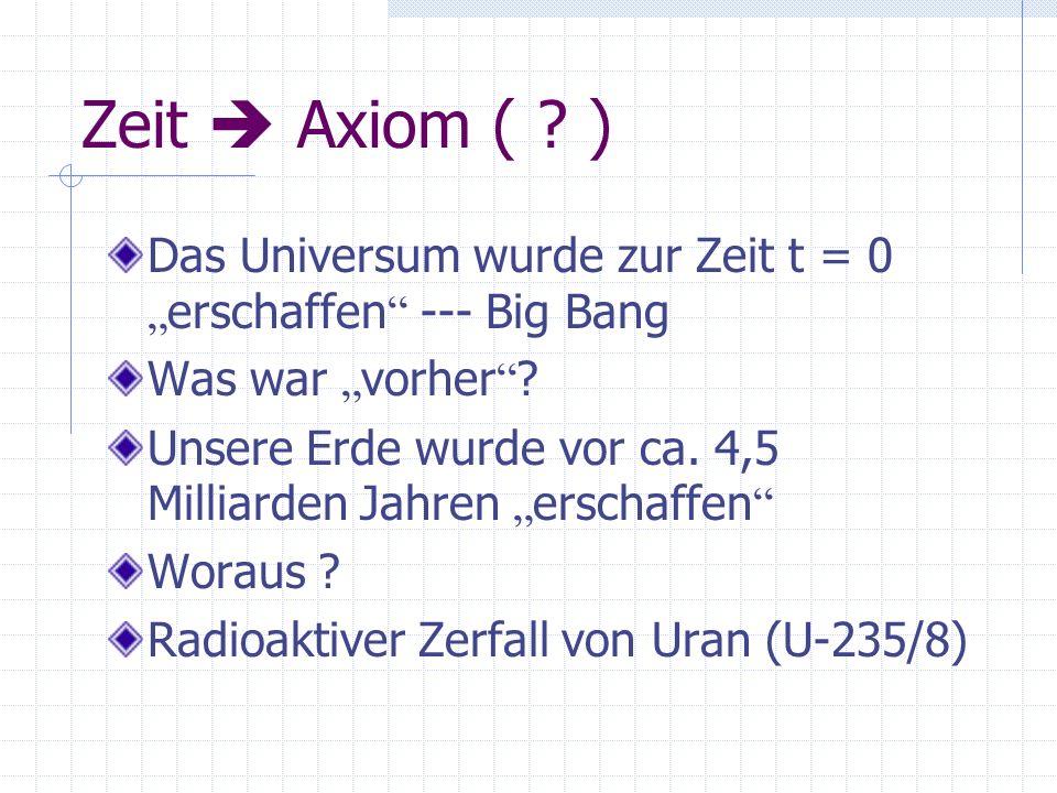 Zeit Axiom ( ? ) Das Universum wurde zur Zeit t = 0 erschaffen --- Big Bang Was war vorher ? Unsere Erde wurde vor ca. 4,5 Milliarden Jahren erschaffe