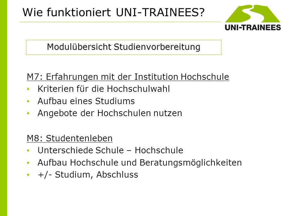 Wie funktioniert UNI-TRAINEES? M7: Erfahrungen mit der Institution Hochschule Kriterien für die Hochschulwahl Aufbau eines Studiums Angebote der Hochs