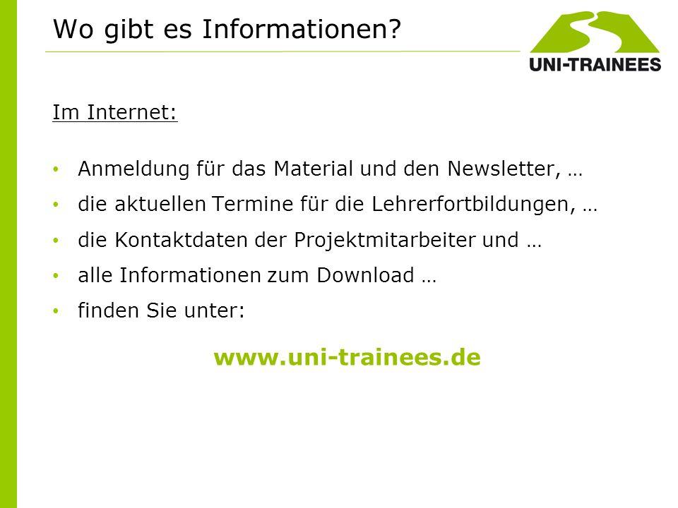 Im Internet: Anmeldung für das Material und den Newsletter, … die aktuellen Termine für die Lehrerfortbildungen, … die Kontaktdaten der Projektmitarbe