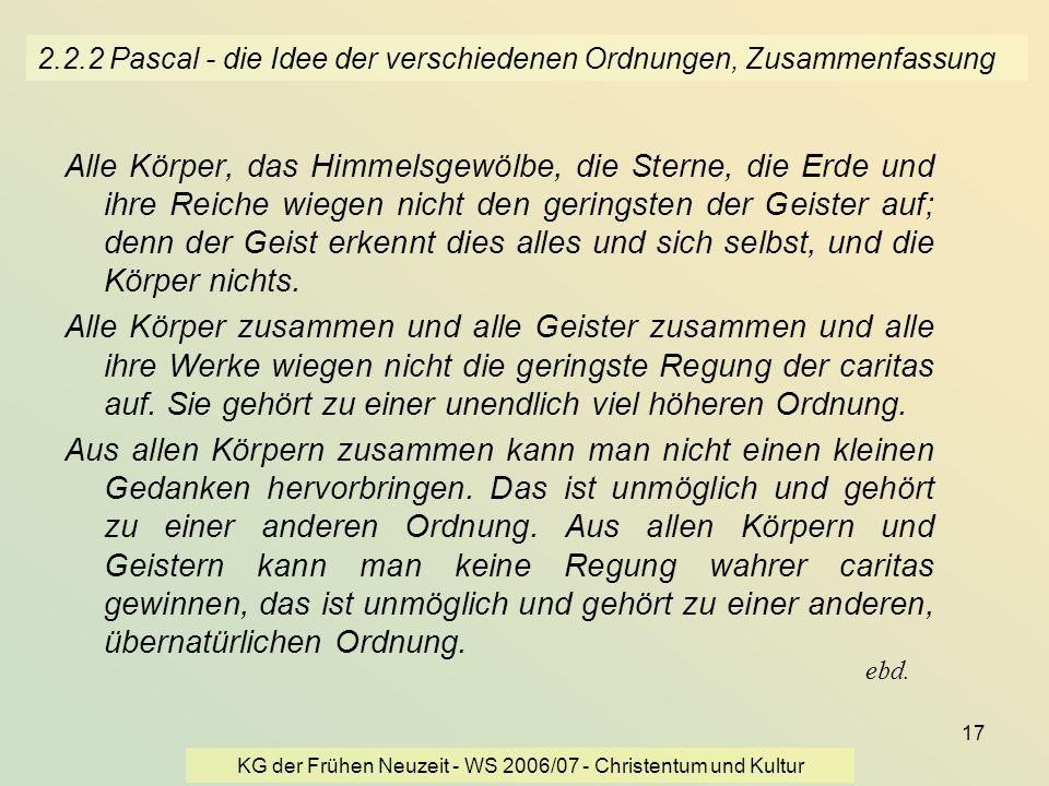 KG der Frühen Neuzeit - WS 2006/07 - Christentum und Kultur 17 2.2.2 Pascal - die Idee der verschiedenen Ordnungen, Zusammenfassung Alle Körper, das H