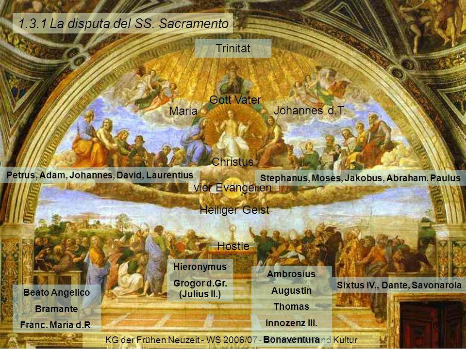 KG der Frühen Neuzeit - WS 2006/07 - Christentum und Kultur 6 1.3.1 La disputa del SS. Sacramento Trinität Gott Vater Christus Heiliger Geist vier Eva