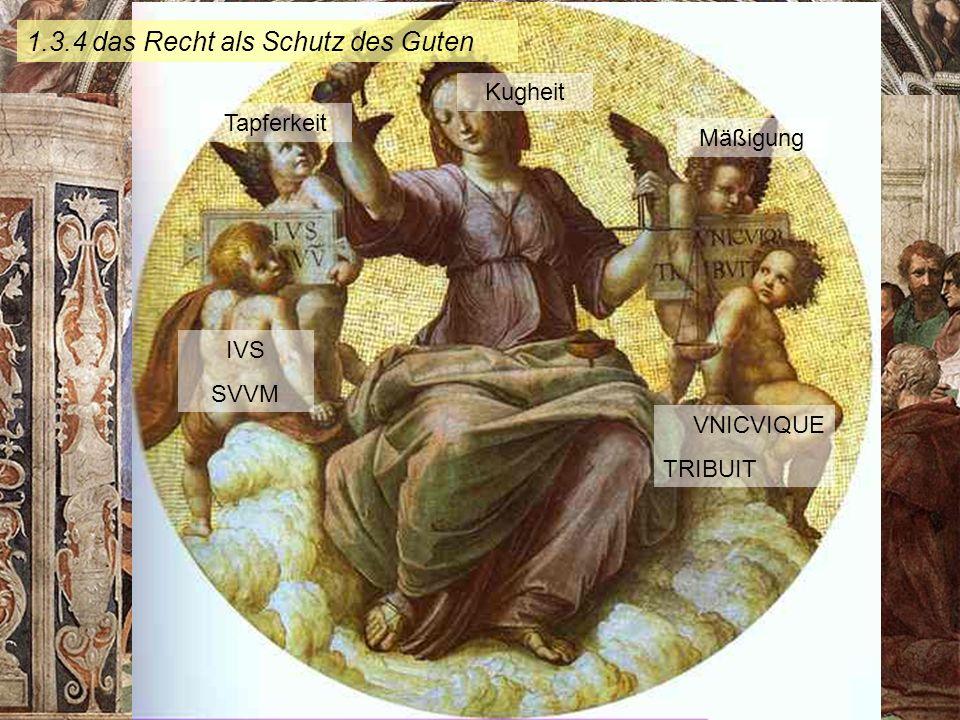KG der Frühen Neuzeit - WS 2006/07 - Christentum und Kultur 9 1.3.4 das Recht als Schutz des Guten Tapferkeit Kugheit Mäßigung IVS SVVM VNICVIQUE TRIB