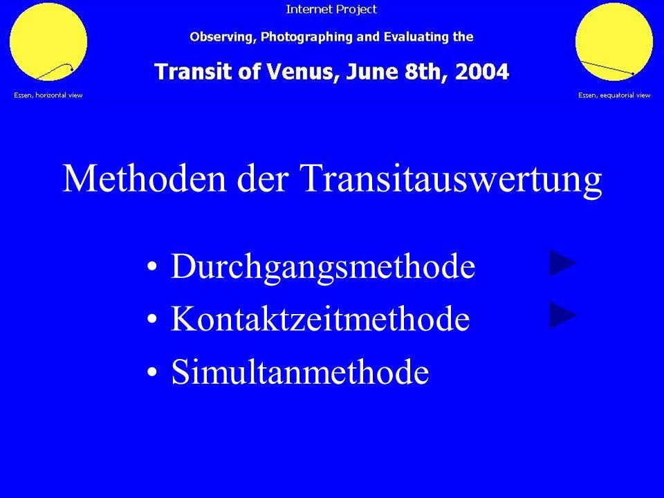 Methoden der Transitauswertung Durchgangsmethode Kontaktzeitmethode Simultanmethode