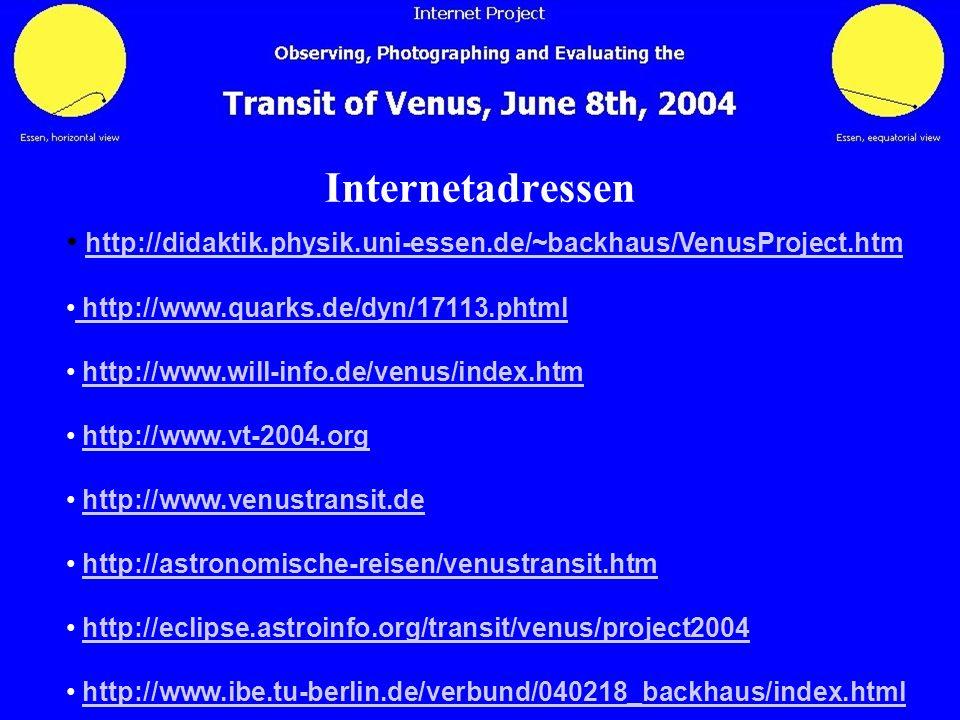 Internetadressen http://didaktik.physik.uni-essen.de/~backhaus/VenusProject.htm http://www.quarks.de/dyn/17113.phtml http://www.quarks.de/dyn/17113.ph