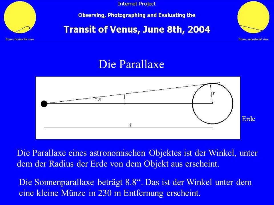 Die Parallaxe Erde Die Parallaxe eines astronomischen Objektes ist der Winkel, unter dem der Radius der Erde von dem Objekt aus erscheint. Die Sonnenp
