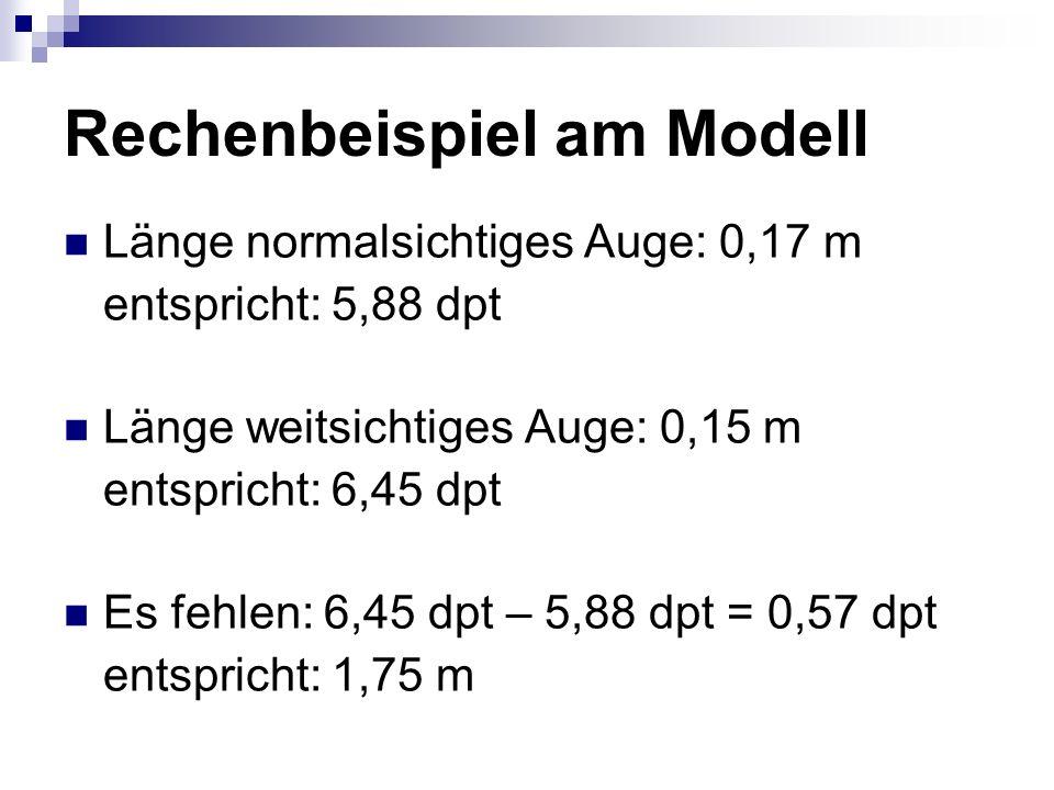 Rechenbeispiel am Modell Länge normalsichtiges Auge: 0,17 m entspricht: 5,88 dpt Länge weitsichtiges Auge: 0,15 m entspricht: 6,45 dpt Es fehlen: 6,45