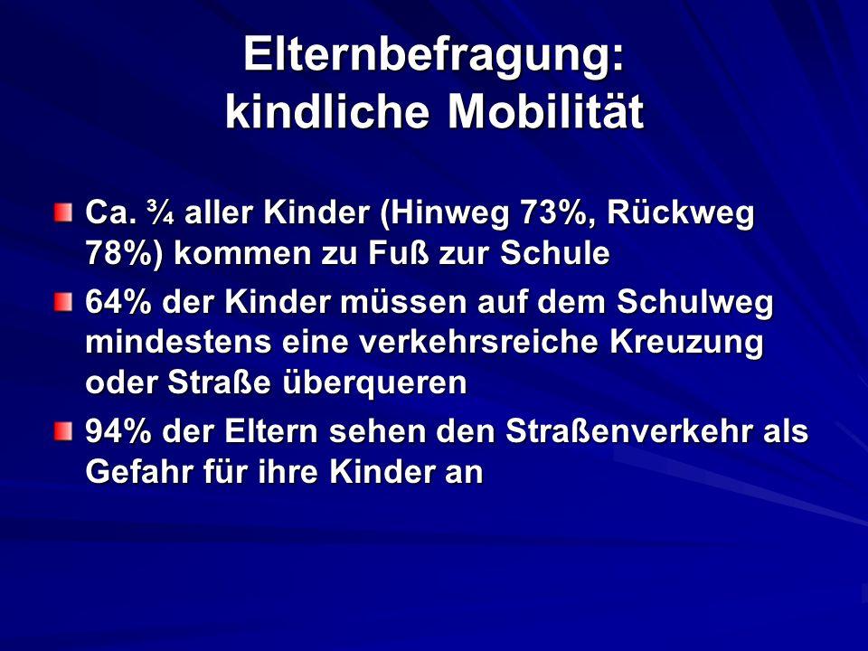Elternbefragung: kindliche Mobilität Ca. ¾ aller Kinder (Hinweg 73%, Rückweg 78%) kommen zu Fuß zur Schule 64% der Kinder müssen auf dem Schulweg mind