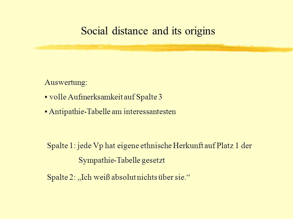 Social distance and its origins Auswertung: volle Aufmerksamkeit auf Spalte 3 Antipathie-Tabelle am interessantesten Spalte 1: jede Vp hat eigene ethnische Herkunft auf Platz 1 der Sympathie-Tabelle gesetzt Spalte 2: Ich weiß absolut nichts über sie.