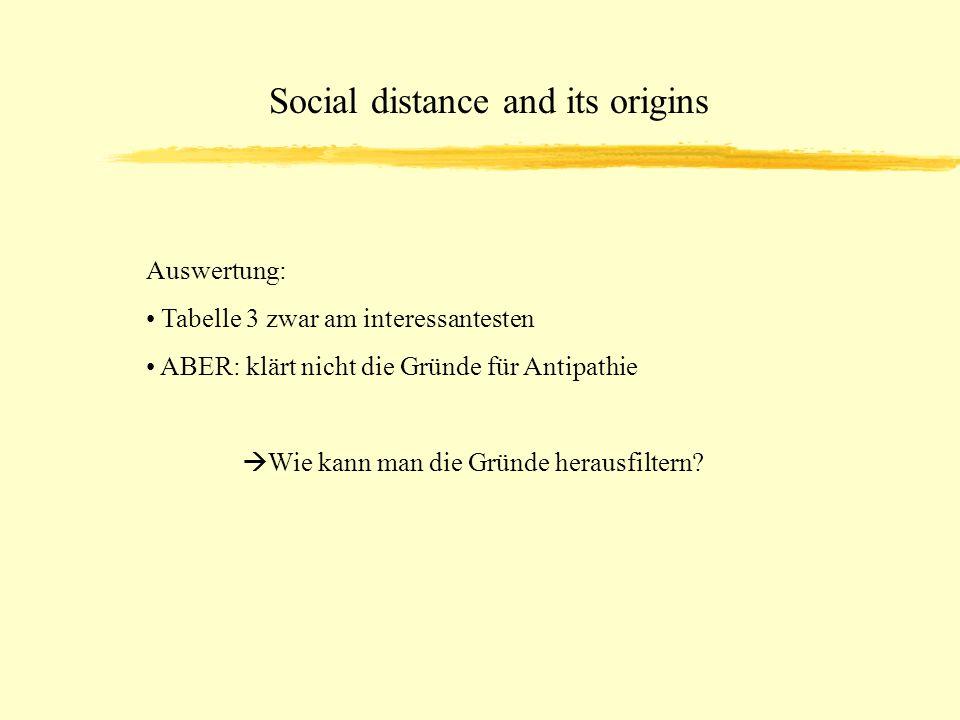Social distance and its origins Auswertung: Tabelle 3 zwar am interessantesten ABER: klärt nicht die Gründe für Antipathie Wie kann man die Gründe herausfiltern?
