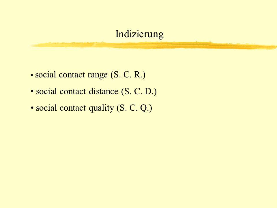 Indizierung social contact range (S. C. R.) social contact distance (S. C. D.) social contact quality (S. C. Q.)