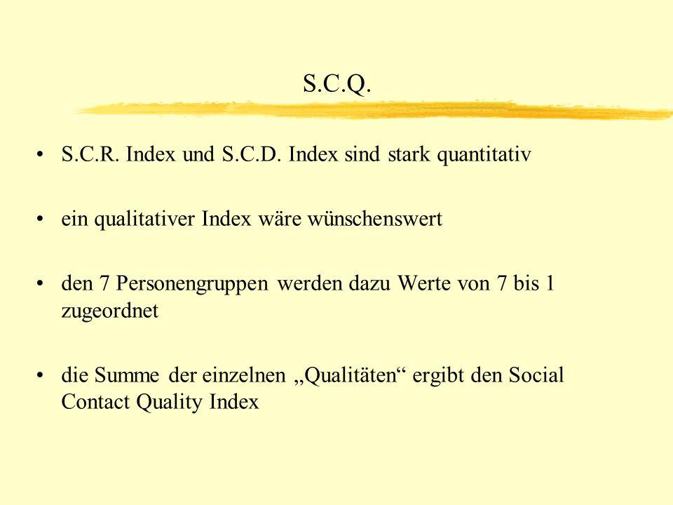 S.C.Q. S.C.R. Index und S.C.D. Index sind stark quantitativ ein qualitativer Index wäre wünschenswert den 7 Personengruppen werden dazu Werte von 7 bi