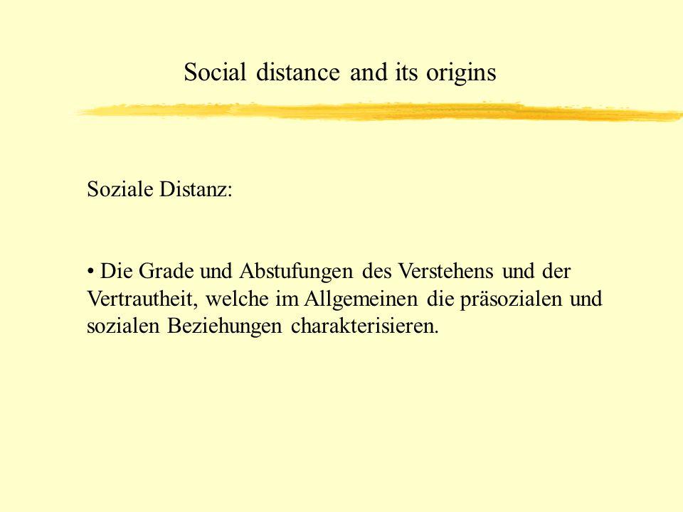 Social distance and its origins Die Ursprünge für rassische Antipathie ließen sich nach 4 Hauptkriterien einteilen: 1.Tradition & herrschende Meinung 2.unangenehme Erfahrungen im Kindesalter 3.Ekel, Angst 4.unangenehme Erfahrungen im Erwachsenenalter
