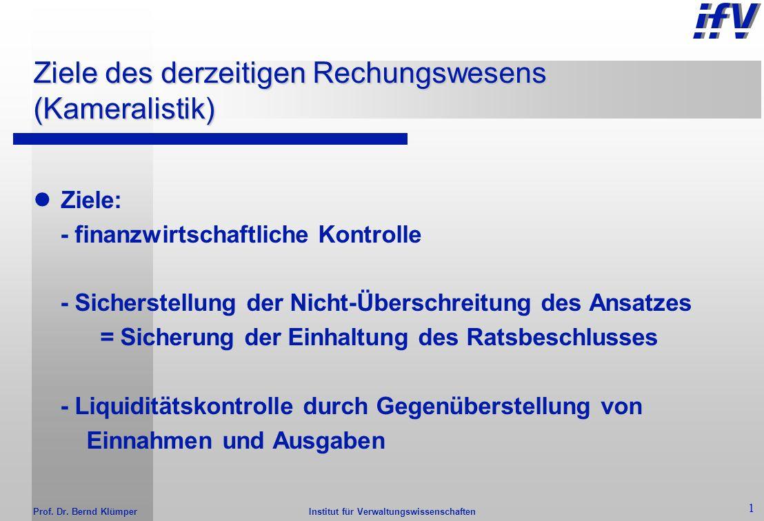 Kaufmännisches Rechungswesen für Hochschulen Erfahrungen mit dem Neuen Kommunalen Finanzmanagement in NRW Prof. Dr. Bernd Klümper Institut für Verwalt