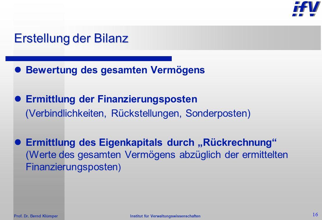 Institut für Verwaltungswissenschaften Prof. Dr. Bernd Klümper 15 Ziele der kommunalen Bilanz Darstellung des Vermögens und seiner Struktur Darstellun