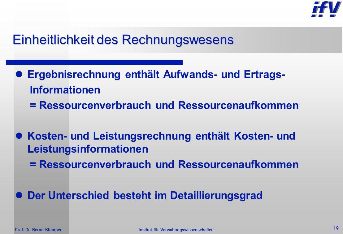 Institut für Verwaltungswissenschaften Prof. Dr. Bernd Klümper 18 Einheitlichkeit des gesamten Rechnungswesen Integration aller Elemente des (externen