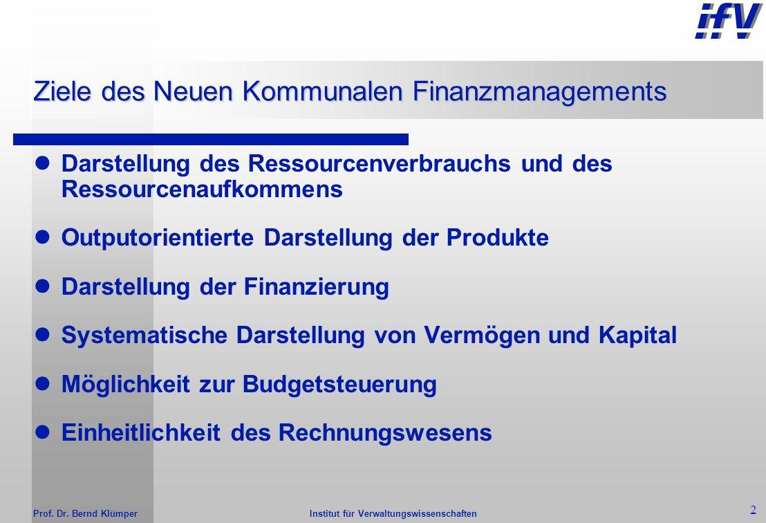 Prof. Dr. Bernd Klümper 1 Ziele des derzeitigen Rechungswesens (Kameralistik) Ziele: - finanzwirtschaftliche Kontrolle - Sicherstellung der Nicht-Über
