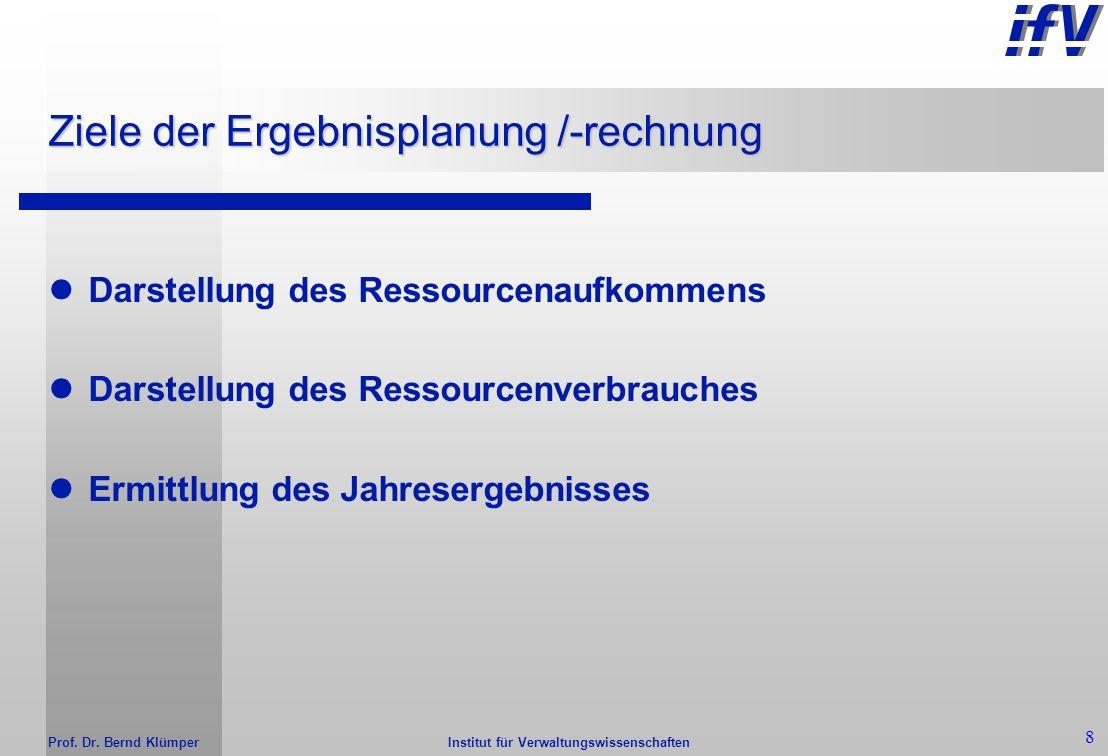 Institut für Verwaltungswissenschaften Prof. Dr. Bernd Klümper 7