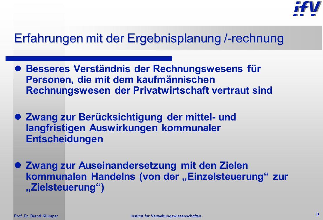 Institut für Verwaltungswissenschaften Prof. Dr. Bernd Klümper 8 Ziele der Ergebnisplanung /-rechnung Darstellung des Ressourcenaufkommens Darstellung