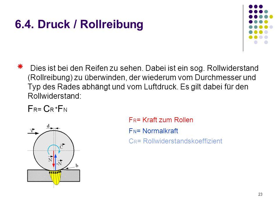 23 6.4. Druck / Rollreibung Dies ist bei den Reifen zu sehen. Dabei ist ein sog. Rollwiderstand (Rollreibung) zu überwinden, der wiederum vom Durchmes